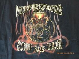 Worldwide Motorcycle Shown T shirt South Beach 2005 Gildan Cotton XL Black skull - $18.86