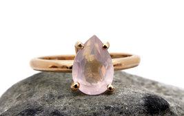 14k rose gold ring,rose quartz ring,pink quartz ring,teardrop ring - $49.50+