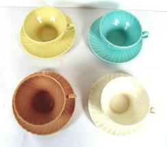4 Franciscan Coronado Cups & Saucers Matte Satin Mixed Colors Swirl Vint... - $26.72