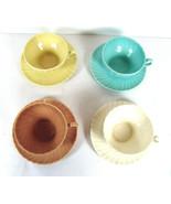 4 Franciscan Coronado Cups & Saucers Matte Satin Mixed Colors Swirl Vintage  - $26.72