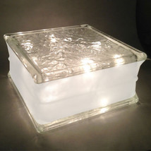 "Glass Block 8""x 8""x 4"" IceScapes Pattern 4"" White Border -Clear Christma... - $26.68"