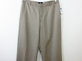New GAP Casual Dress Pants Size 14 Wide Straigh Leg Flat Front Slit Pock... - $29.69