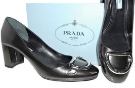 Prada Anthracite Patent Leather Mid- Chunky Heel Silver Buckle Pump 40 -... - $359.91