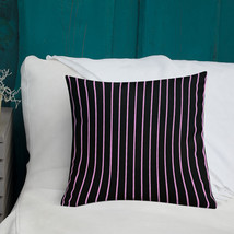 Black with Pink Pinstripes Premium Throw Pillow - $31.99+