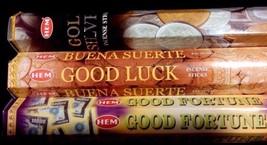 GOOD LUCK Gold Silver Fortune 60 HEM Incense Sticks Sampler Gift Set ST ... - $7.00
