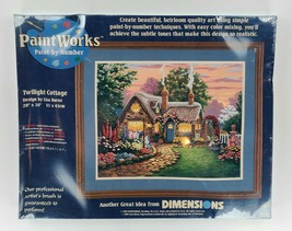 PaintWorks Dimensions Paint By Number 20x16 Twilight Cottage 1999 Sealed... - $74.25