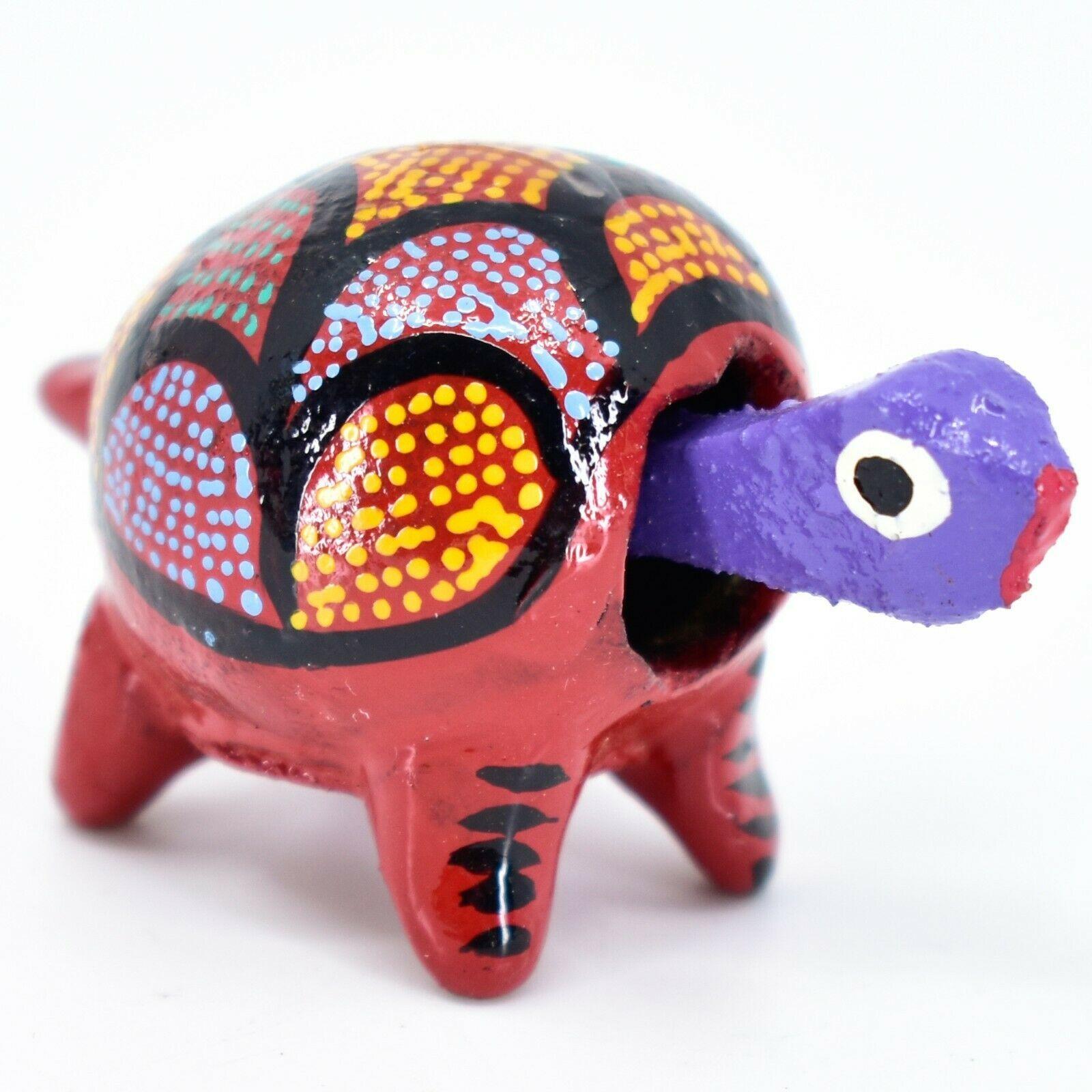 Handmade Oaxacan Alebrijes Wood Carving Folk Art Turtle Bobble Head Figurine