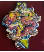 (1) Vintage Taiwan Cochin PINK DRAGON Koji Ceramic Art Pottery Framed Pl... - $235.19