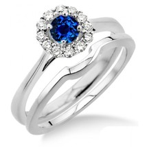 1.25 Carat Sapphire & Simulated Diamond Bridal set Halo 14K White Gold Fn  - $99.99