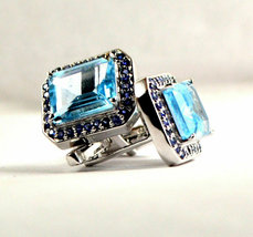 925 Sterling Silver Natural Fine Quality Blue Topaz And Blue Sapphire Gemstone A image 2