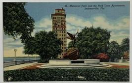 VTG Linen Era Postcard Memorial Park & Park Lane Apartments Jacksonville... - $9.79