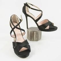 Kate Spade Frances Black Satin Criss Cross High Heels 9.5 NIB - $143.06