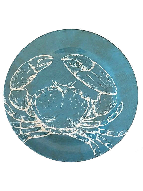 "Ocean Blue Crab Earth Friendly Set of 4 Melamine 10.5"" Dinner Plates Nantucket"