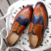 Burnished Brown Blue Tone Superior Leather Wing Tip Men Handmade Oxford Shoes - $139.90+
