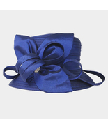 Ginga's Galleria Navy Blue Bow Accented Flower Dressy Derby Hat - $45.00