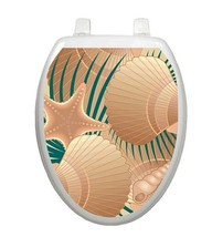 Toilet Tattoos Vinyl Lid Decor  At the Beach Shells Tan Return - $9.00