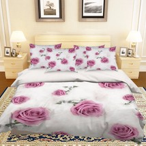 3D Feathers Rose Bed Pillowcases Quilt Duvet Cover Set Single Queen King Size AU - $90.04+