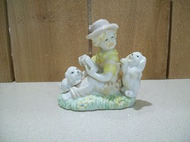 Vintage Fine Porcelain Figurine Boy Reading Book with Puppies Figurine 4... - $23.76