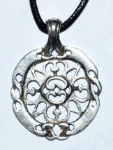 Celtic Harmony Protection Amulet Necklace - Pewter Amulet, Black Cord - $12.59