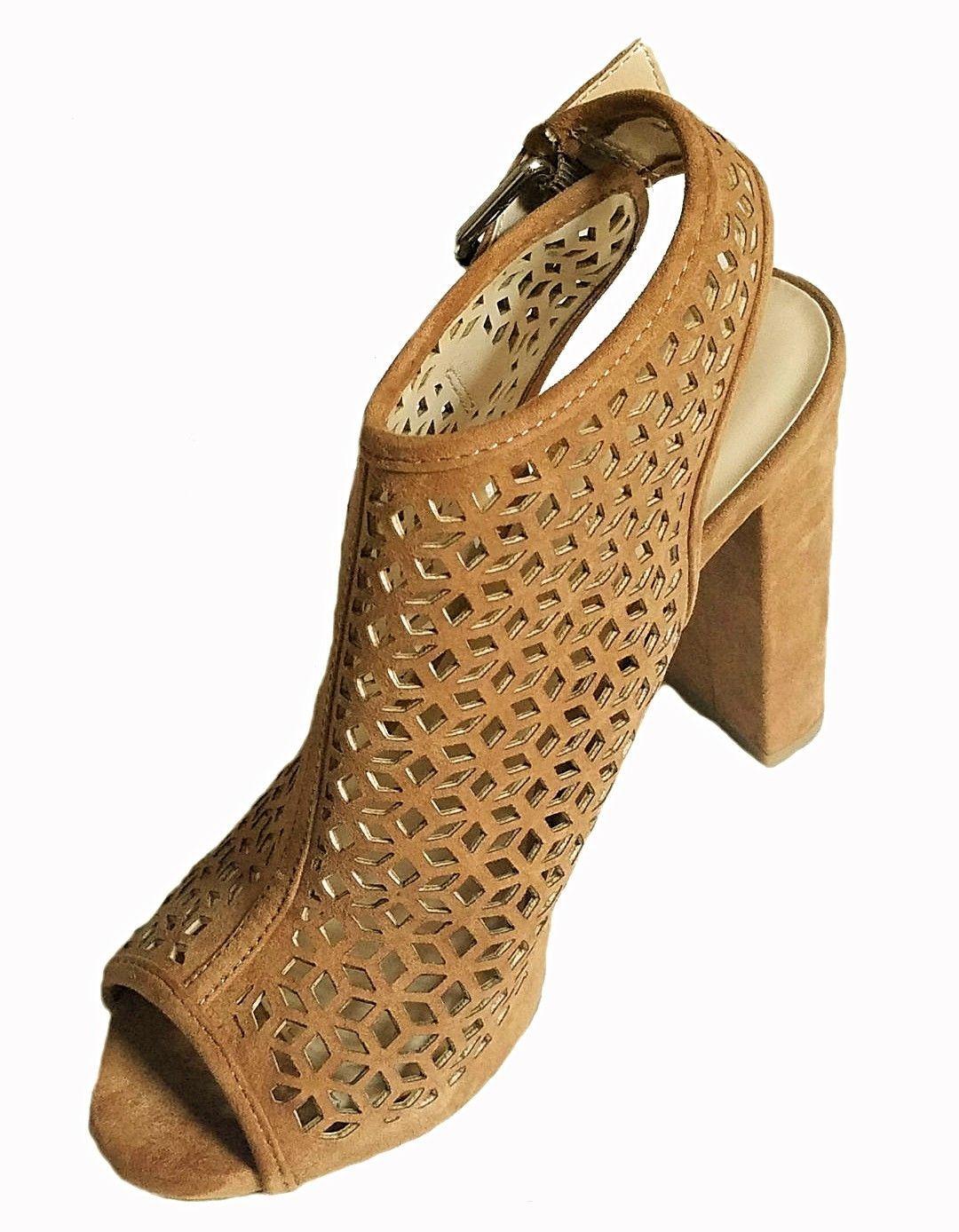 WILD DIVA Women's Sling Back Laser Perforated Stacked Heel Peep Toe Mule Sandals - $21.51