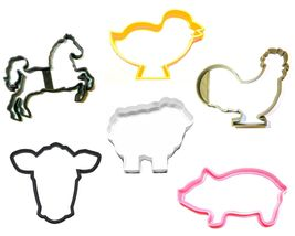 Farm Ranch Animals Pig Cow Chick Lamb Horse Set Of 6 Cookie Cutters USA ... - $10.99