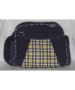 Graco Diaper Bag 16x12 Navy Blue with yellow plaid design Preowned - $12.95