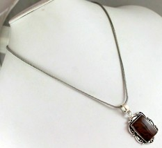 Obsidian Silver Plated Pendant With Chain / Necklace V-2-146_10 - $4.23