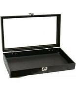 Black Jewelry Travel Showcase Display Glass Lid Case - $23.95