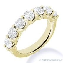 Round Moissanite 14k Yellow Gold 7-Stone U-Prong Anniversary Ring Weddin... - €335,95 EUR+