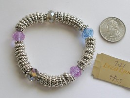 Erica Lyons Stretch Bracelet Textured Silver Silver-tone and Faceted Beads - $6.92
