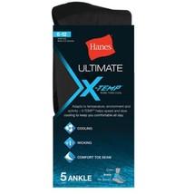 5-Pack Hanes Men's Ultimate X-Temp Ankle Socks - Black - Fits shoe size ... - $15.99