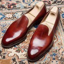 Men Handmade burgundy leather loafers,Men slip ons,Men's loafers shoes,Men style - $144.99+