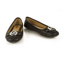 Michael Kors Fulton Moc Black Leather Silver Logo Ballerinas Flat Shoes ... - $143.55