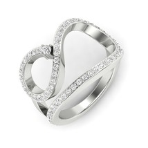 925 Sterling Silver Stylish Curved Band Ring D/VVS1 Round Diamond Band Ring - $94.44