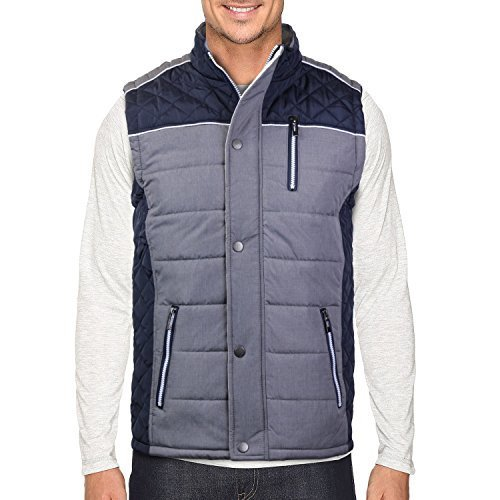 Holstark Men's Zip Up Insulated Fleece Lined Two Tone Vest (XL, Navy)