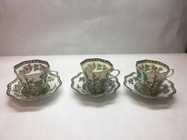 VINTAGE Coalport CHINA Indian SUMMER Pattern SET OF THREE Coffee CUPS Sa... - $71.27