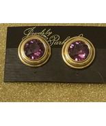 Park Lane Vintage Gold Plated Purple Amethyst Clip Earrings Faceted Gems! - $6.53