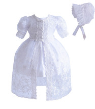New Baby 3 Piece White Lace Christening Gown Party Dress 0 3 6 12 18 24 ... - $32.85