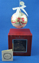 Vintage Waterford Holiday Heirloom White Glass Ball Red Ribbon Holly Orn... - $28.01