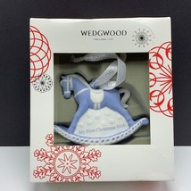 Wedgwood christmas ornament England First Christmas 2016 rocking horse figurine - $34.65
