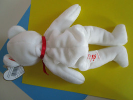 TY Beanie Babies VALENTINO White Teddy Bear with red heart, Plush Toy 1994 image 2