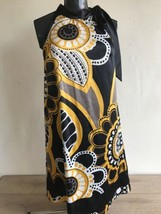 Style & Co Women's Dress Size 4 Sleeveless Sexy Black Gold Tie Neck  - $29.69