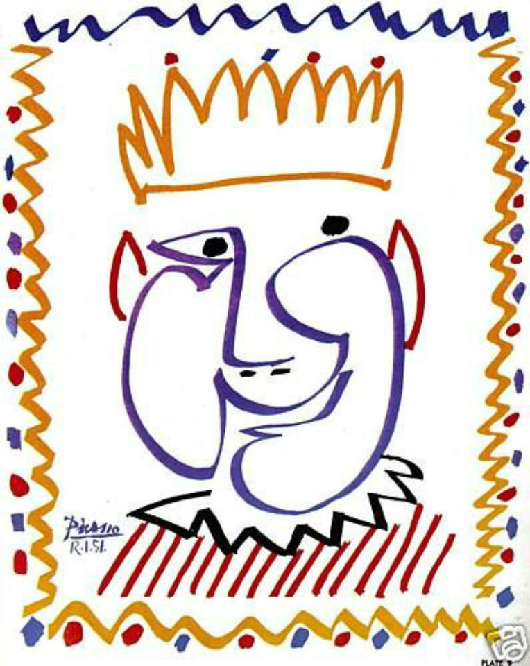 Picasso SIGNED 1964 LITHOGRAPH w/COA. King PABLO STUNNING RARE vintage ART print