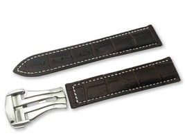 Dark Brown/White Leather Watch Strap for Omega Seamaster Clasp 18 19 20 ... - $37.26+