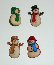 "Cute Old Fashioned Snowman Buttons 3D Realistic Shank Buttons (4) 1"" Ass... - $3.95"