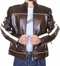 Cafe Racer Biker Copper Classic Distressed Brown White Stripes Leather Jacket image 1