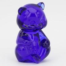 Vintage Fenton Cobalt Blue Glass Teddy Bear Paperweight Figurine 2 3/4 Tall