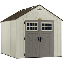 Patio Resin Storage Shed 8x10Ft Large Outdoor Cabin Garden Yard Garage T... - $1,486.85