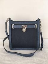 Michael Kors Hamilton Croc Embossed Leather Medium Messenger Bag Denim B... - $119.00