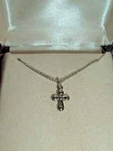 Vtg Silver Tone Cross Religious Crucifix Necklace Pendant in original ve... - $9.97